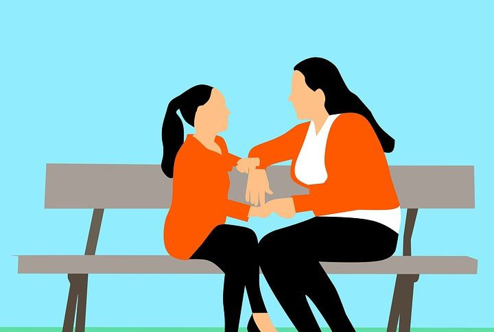 Illustration of parent and child talking on a park bench